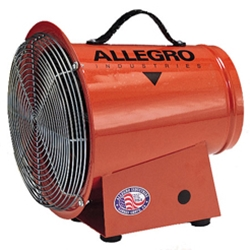 "Allegro 8"" Steel Axial Blower (1/3 Hp, AC or DC, 50Hz or 60Hz, 1275 CFM @ Outlet)"