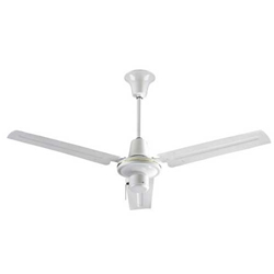 "VES Environmental brand  #INDA563S3L White Heavy Duty Commercial Ceiling Fan (56"" Downflow , 25,000/16,800/9,600 CFM, 5 Year Warranty, 120V, 3-Speed Pull Chain)"